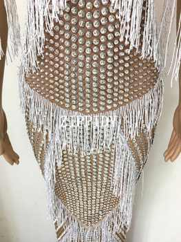 New design Fashion Luxurious Crystals Fringes Long Dress Evening Party Sexy Tassels Stretch Dress Prom Celebrate Stones Dress