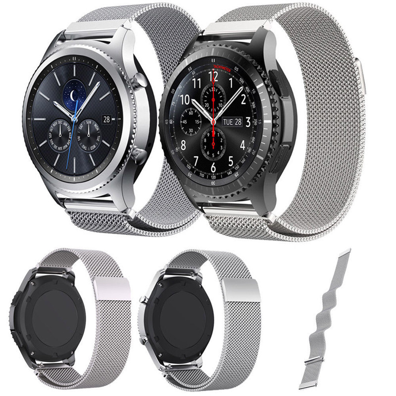 Milanese Loop Watch Band For Samsung Gear S3 Classic / S3 Frontier Bracelet Strap Magnetic Closure Stainless Steel Wrist Band 2017 new stainless steel bracelet strap watch band milanese magnetic with connector adapter for samsung gear s2 watch band