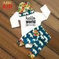 Bodysuits do bebê Olá Mundo impressão macacão + calça + chapéu elefante vestido infantil baby girl boy vestuário infantil corpo KD171