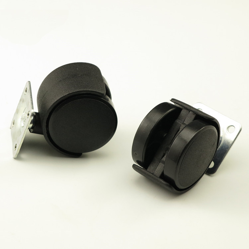 2PCS Black Plastic 40mm Replacement Brake Swivel Casters Office Chair Sofa Wheels Rollin ...