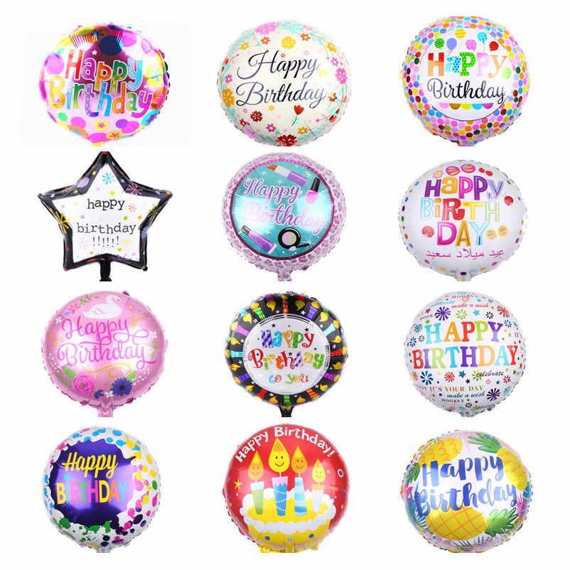 HDBFH  New 18-inch Round Happy Birthday Balloons Birthday Party Decoration Toy Balloons High Quality
