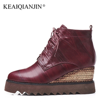 KEAIQIANJIN Woman Wine Red Wedges Chelsea Boots Genuine Leather High Heels Boots Black Autumn Winter Lace