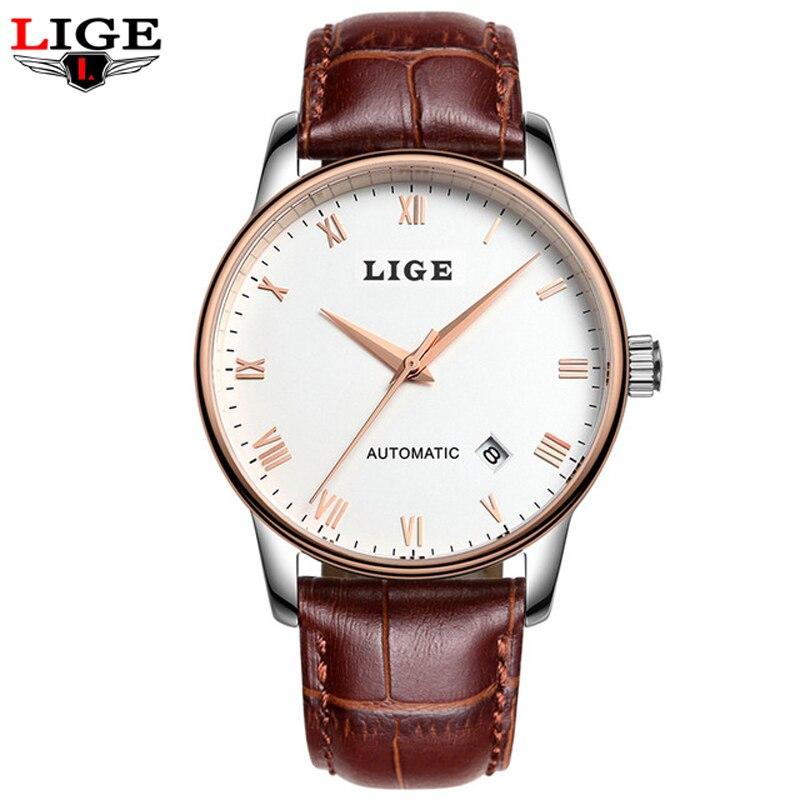 LIGE Luxury Brand Automatic mechanica Watches Men Fashion Leather Strap Waterproof Business Watch Man Clock Relogio Masculino