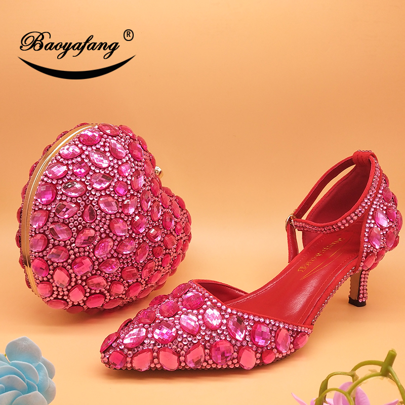BaoYaFang Fuschia pink Crystal Wedding shoes and bags Bride ankle strap shoe with matching bags Bridal party dress shoe BuckleBaoYaFang Fuschia pink Crystal Wedding shoes and bags Bride ankle strap shoe with matching bags Bridal party dress shoe Buckle