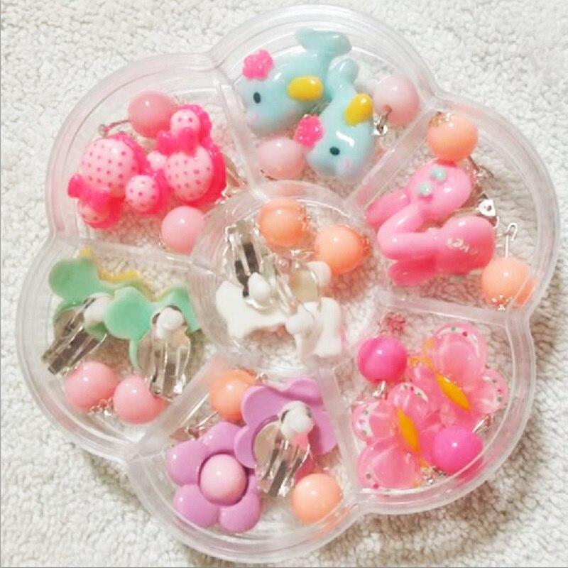 1 box Cute Lovely Party Gifts crystal children jewelry baby girl Earrings kids ear clip on Pierced Imitation Pearl Earrings