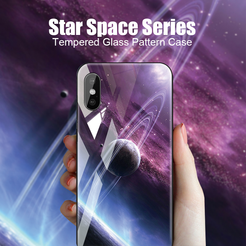 TOMKAS Tempered Glass Silicone Case For iPhone XS Max XR Star Space Cover Phone Case For iPhone X S XS Plus XR 10 Luxury Cases X (1)