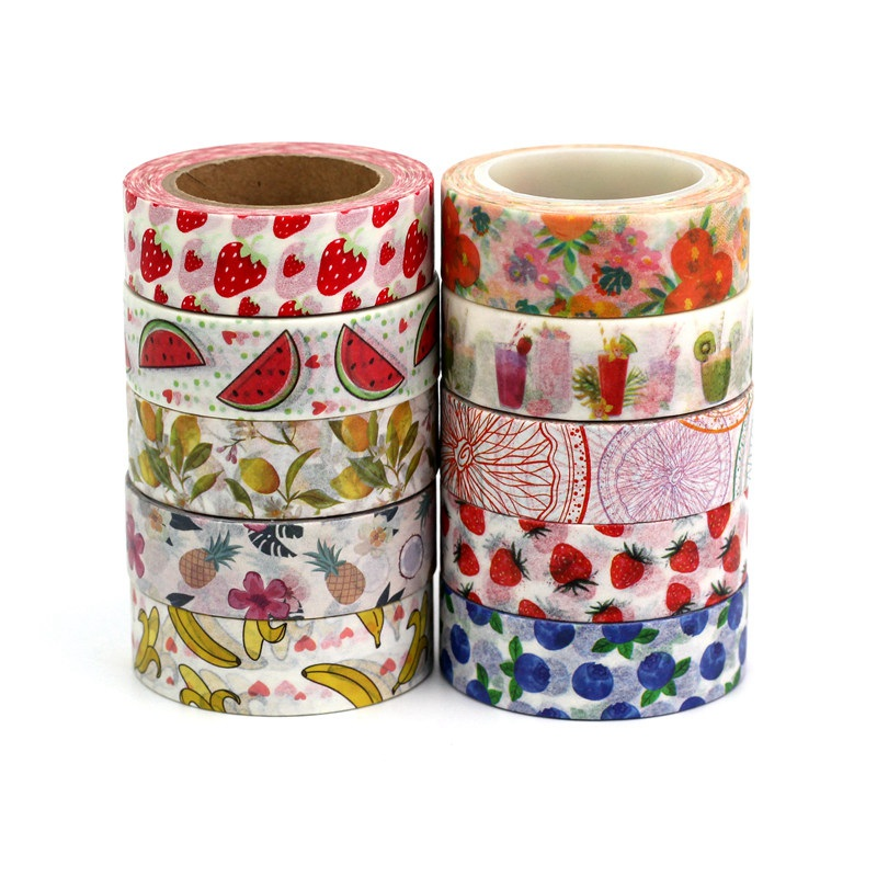 1.5CMX10M Strawberry Watermelon Banana Lemon Cherry Decor Fruit Washi Tape DIY Scrapbooking Masking Tapes School Office Supplies