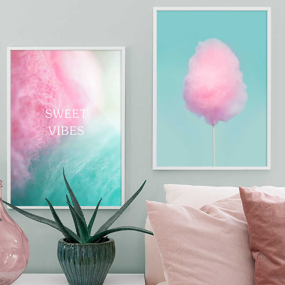 Sweet Vibes Pink Cotton Candy Nordic Posters And Prints Wall Art Canvas Painting Nursery Wall Pictures Baby Girl Kids Room Decor
