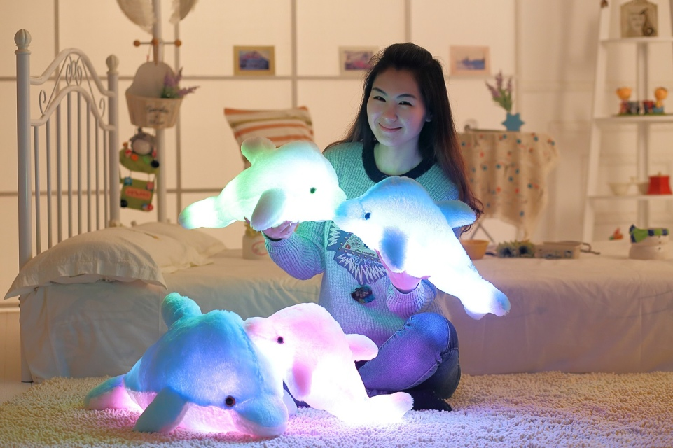 45cm Light up Plush Stuffed FLASHING Dolphin Toy Cushion Pillow LED Light Inside For Party Birthday