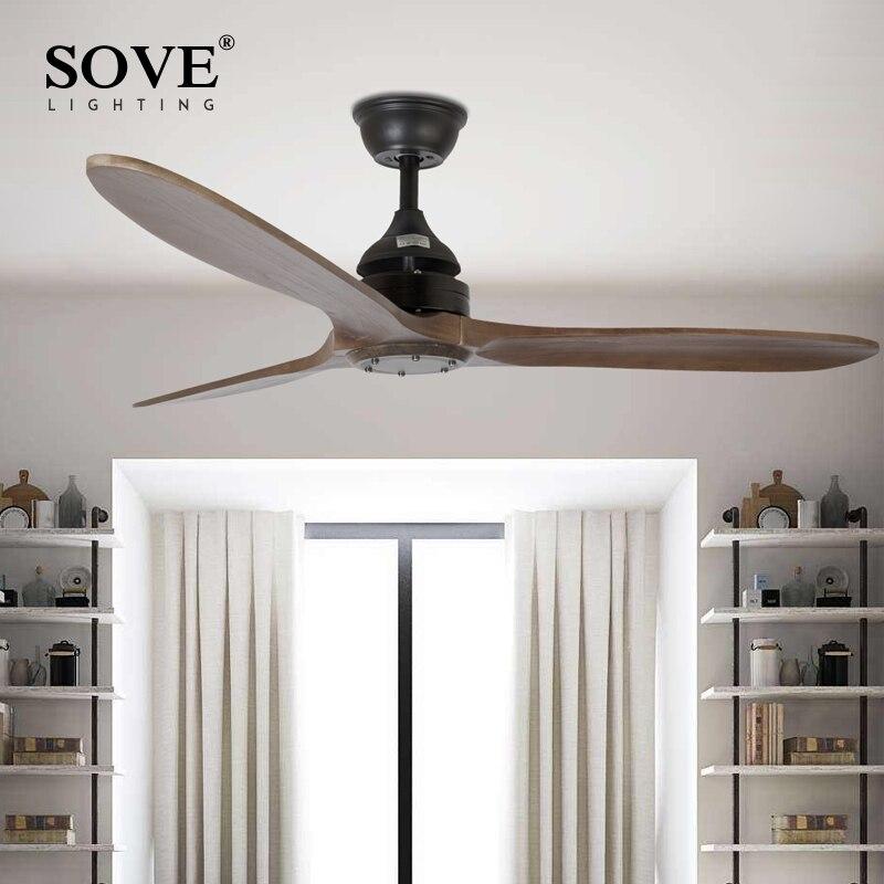 SOVE Black Industrial Vintage Ceiling <font><b>Fan</b></font> Wood Without Light Wooden Ceiling <font><b>Fans</b></font> Decor Remote Control Ventilador De Teto DC 220v