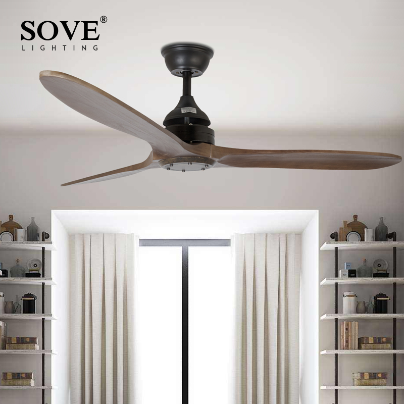 sove black industrial vintage ceiling fan wood without light wooden ceiling fans decor remote control ventilador - Vintage Ceiling Fans