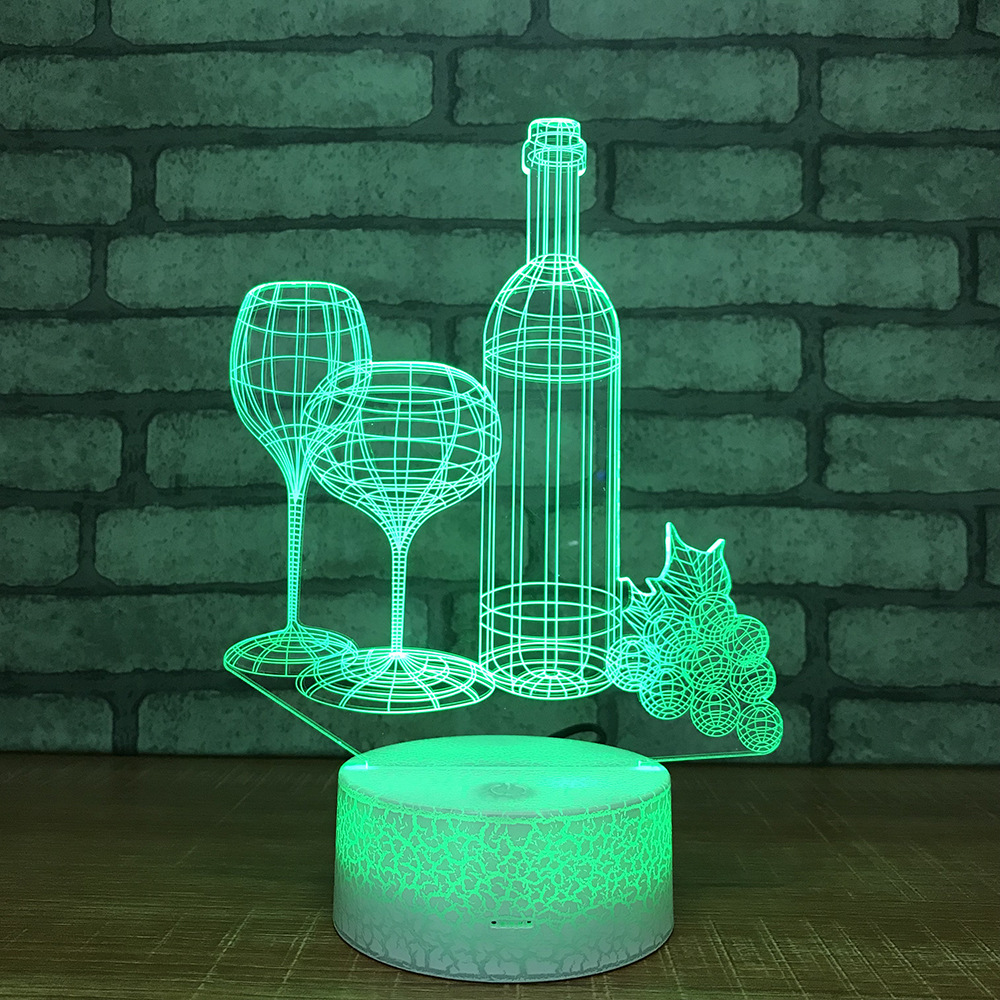 Christmas decoration Wine Cup 3d Lamp Colorful Discolourful Led Night Light Bedroom Decoration Small Table Lamp