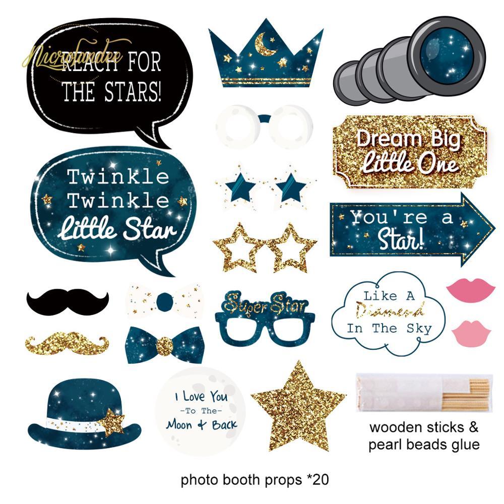NICROLANDEE Astronauta Feliz Aniversário Decoração Do Partido Guirlanda De Papel Estrelas Telescópio Photo Booth Photobooth Props DIY