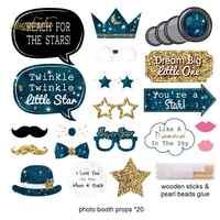 NICROLANDEE Astronaut Happy Birthday Party Decoration Paper Garland Telescope Stars Photo Booth Photobooth Props DIY