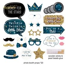 NICROLANDEE Astronaut Happy Birthday Party Decoration Paper Garland Telescope Stars Photo Booth Photobooth Props DIY