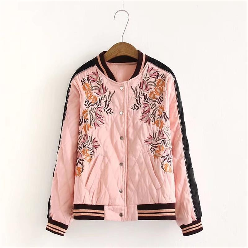 Hot Selling 2017 autumn and winter new single - breasted leisure embroidery pink cotton jacket women 's jacket AL206
