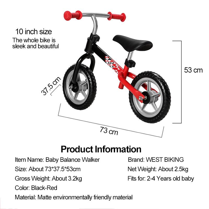WEST vélo enfants Balance vélo réglable marcheur bambin vélo Scooter pas de pédale équitation jouets 2-4 ans enfants marcheur - 6