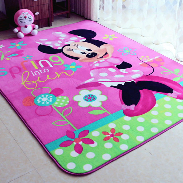 Child Girl Lovely Minnie Mouse Pink Game Carpet Environmental