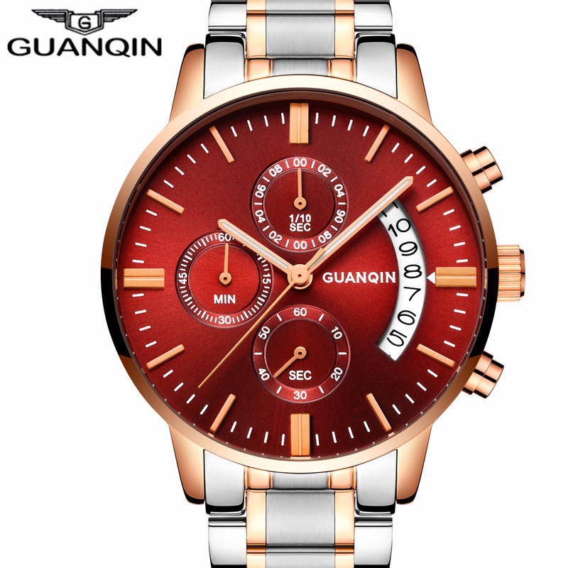 GUANQIN relogio masculino Mens Watches Top Brand Luxury  Watch Men Sport Full Steel Quartz Watch Man  Luminous Wristwatch guanqin mens watches top brand luxury casual quartz watch men full steel auto date waterproof wristwatch relogio masculino