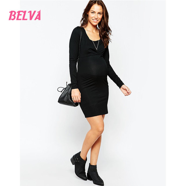 Belva 2017 Black Square Collar Maternity Dress high quality clothes for pregnant woman clothes summer pregnancy Sale DA730325