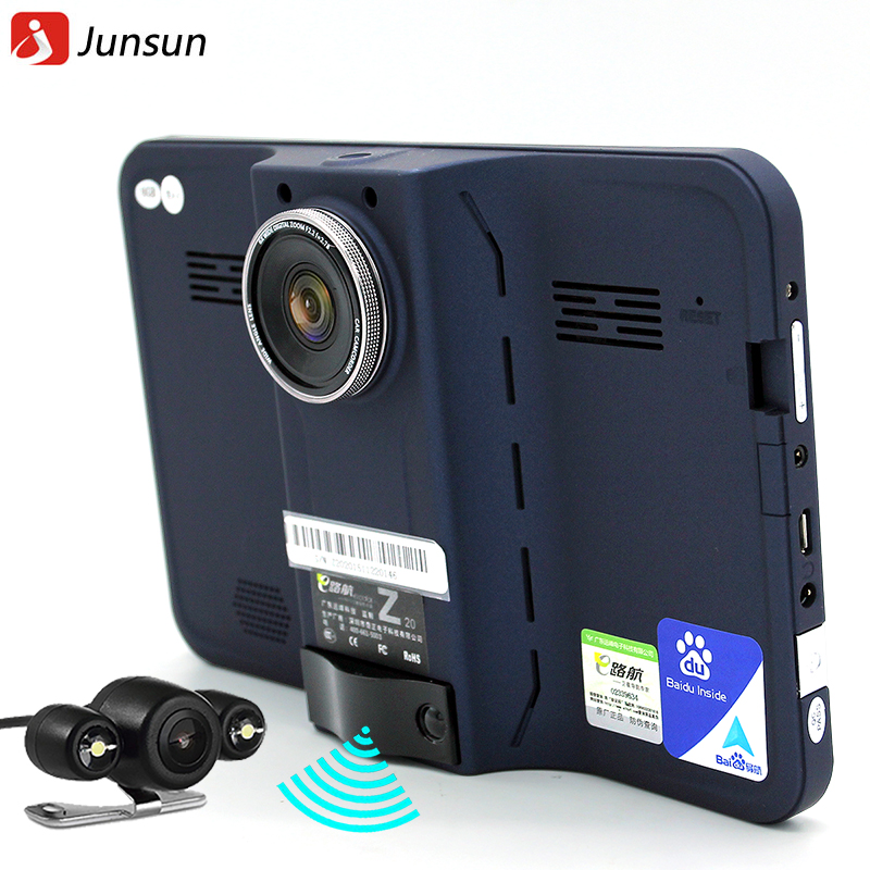 Junsun 7 inch GPS Navigation android radar detector with DVR rear view automobile navigator europe or