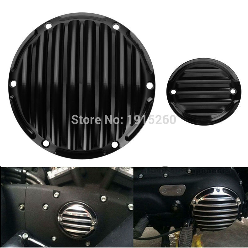Black Finned Derby Timing Timer Cover For Harley Sportster Iron 883 1200 48 72 motorcycle black skull derby timer cover clutch timing cover for harley davidson sportster iron xl 883 1200 72 48 2004 2017