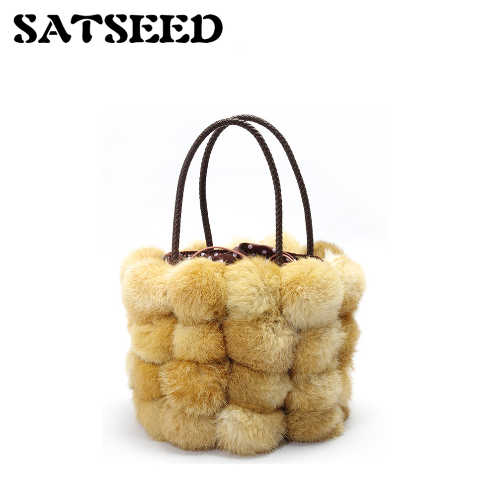 Rabbit Bucket Bag Luxury Fur Handbag New Autumn Ball Bag Rex Rabbit Bag