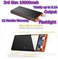 Easyacc 10000MAH Power Bank 10000 mah Powerbank Slim 3.1A 2 USB Ports Flashlight for iPhone 6 Full Charge 350% 1 Year Warranty