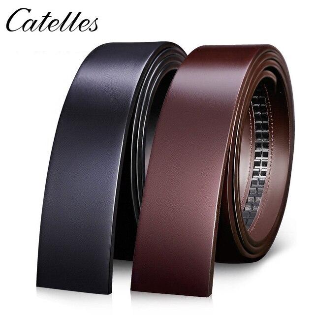 Catelles لا مشبك 3.5 سنتيمتر واسعة حقيقية حزام جلد طبيعي دون التلقائي مشبك حزام الذكور مصمم أحزمة حزام جلد الرجال 6045