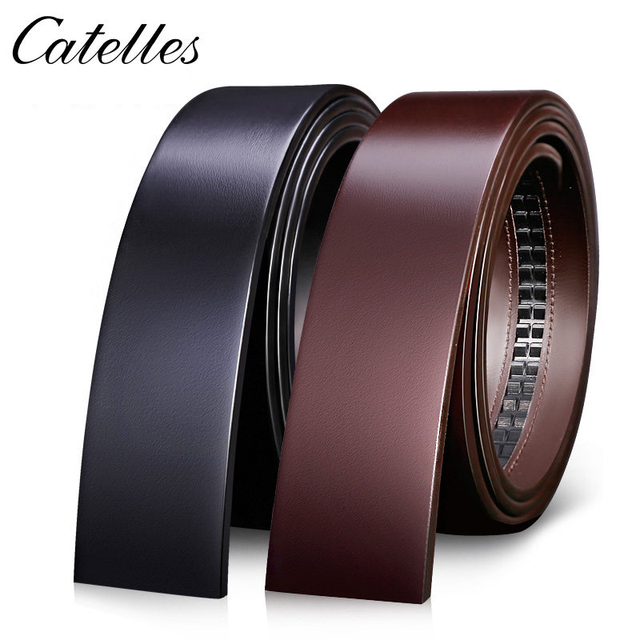 Catelles No Buckle 3.5cm Wide Real Genuine Leather Belt Without Automatic Buckle Strap Male Designer Belts Leather Belt Men 6045