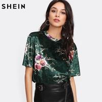SHEIN T Shirt Women Flower Print Velvet T Shirt Multicolor Short Sleeve Womens Tops Summer Casual