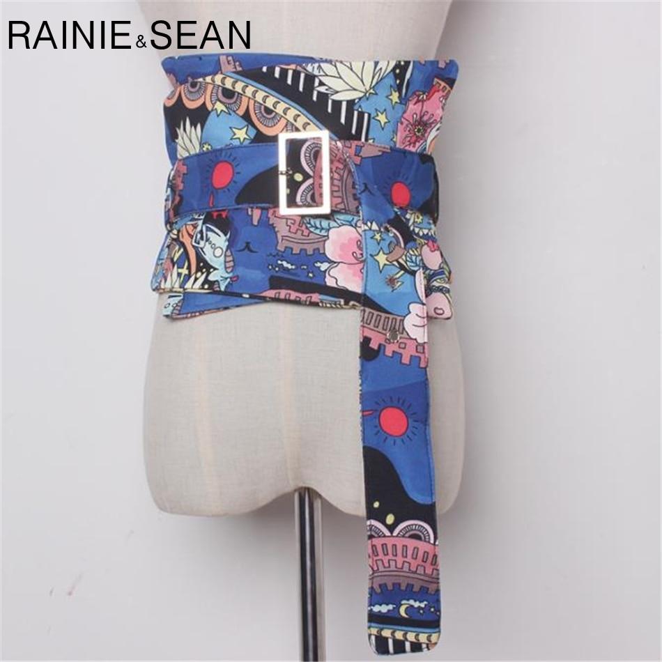 RAINIE SEAN Extra Wide Belt Cummerbunds For Women Waistband For Jeans Print Corset Waist Belt Pin Buckle Blue Dress Belts Wrap