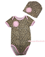 Newborn Baby Rosette Pink Trim Leopard One Piece Bodysuit Jumpsuit & Hat NB-12M TH503