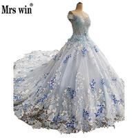 Wedding Dress 2017 The Colorful Dress Short Sleeve Elegant Boat Neck Luxuey Appliques Classic Brush Train