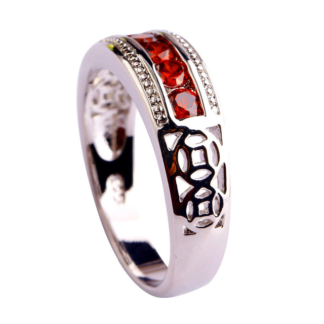 Unisex Free Shipping Retro Style Jewelry Lad Red Garnet Silver  Plated Fashion Ring Size 6 7 8 9 10 Gift wholesale