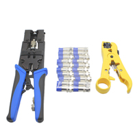 Durable Coax Compression Crimper Tool Bnc/Rca/F Crimp Connector Rg59/58/6 Cable Wire Cutter Adjustable Crimping Plie