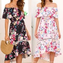 Summer word collar high waist womens loose ruffled dress casual print fashion sexy