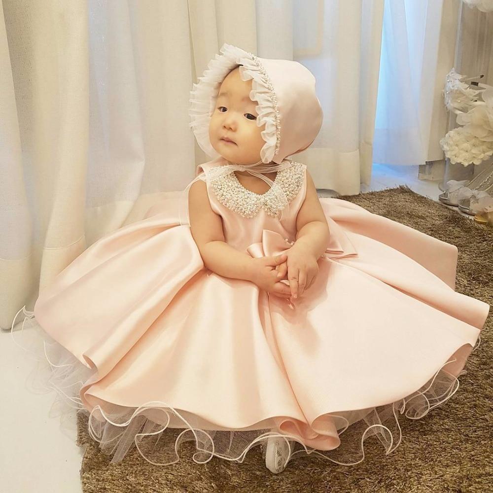 女の赤ちゃん 1st 誕生日パールピンクドレス幼児プリンセスドレスフラワーガール女の子ふわふわチュール服のための 1 10 年  グループ上の ママ & キッズ からの ドレス の中 3