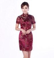 Burgundy Traditional Chinese Classic Dress Women S Satin Cheongsam Mini Qipao Size M L XL XXL