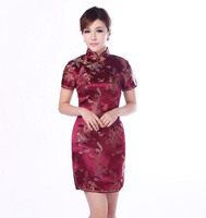 Burgundy Traditional Chinese Classic Dress Women S Satin Cheongsam Mini Qipao Size M L XL XXL