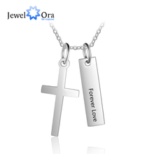 Personalized Name Vertical Bar Necklaces for Women Customized Cross Necklace Fashion Stainless Steel Jewelry (JewelOra NE103191)