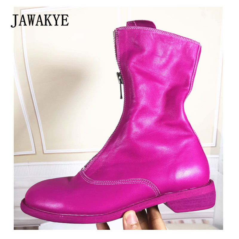 все цены на 2018 GUIDI Boots Woman Round Toe Black Rosy Red Real Leather Ankle Boots Woman Fashion Cool Do Old Boots онлайн