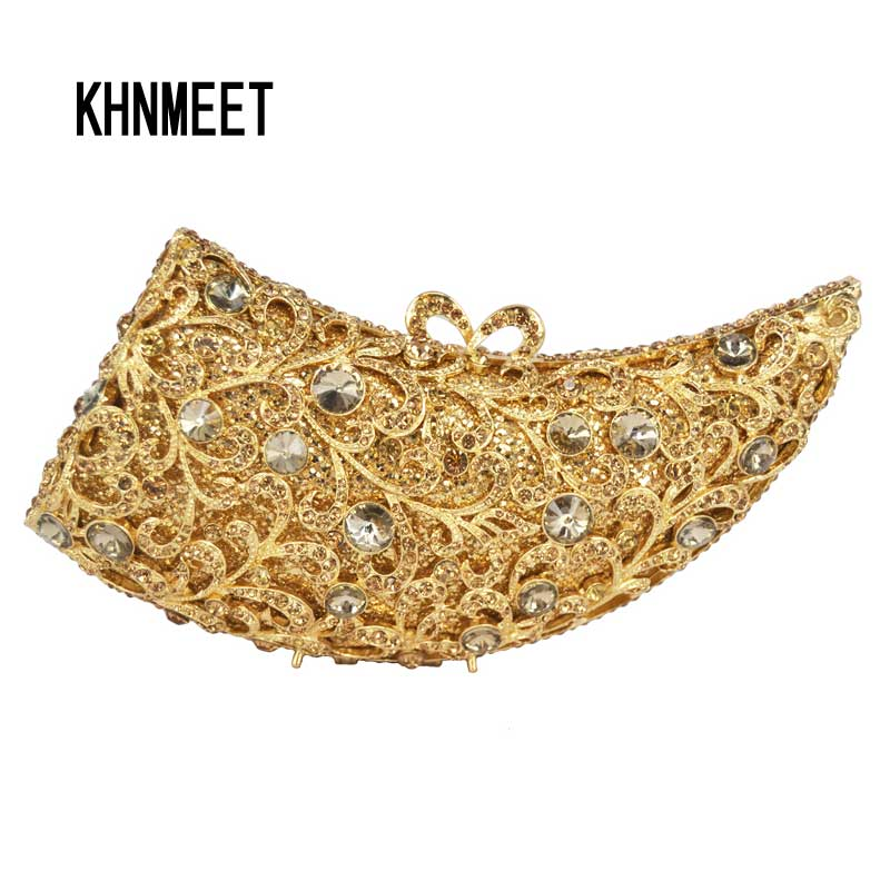 LaiSC women evening bags luxury crystal clutch purse horned gold rhinestones day clutches fashion design ladies