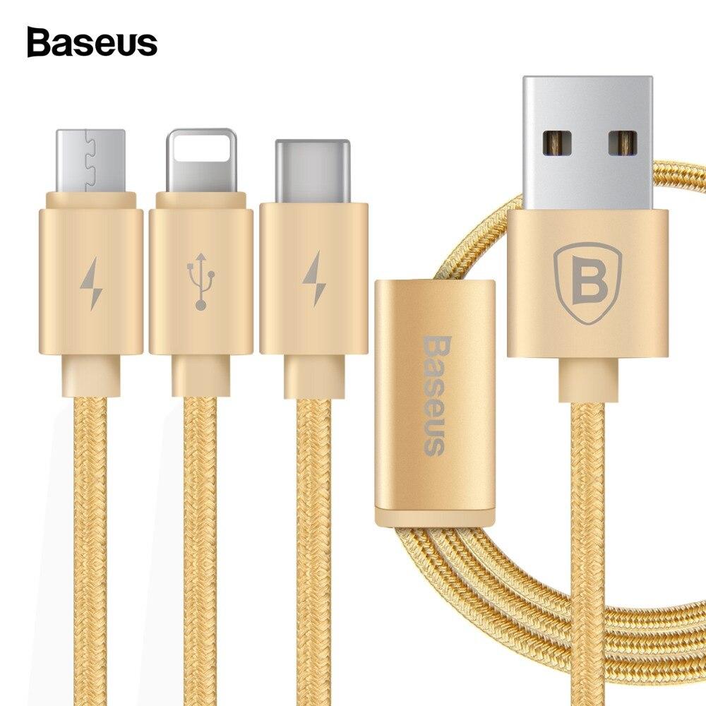 Baseus 3 en 1 Cable de carga para iPhone Micro USB tipo C Multi Cable cargador para iPhone 7X8 6 6 s SE 5S para Android Cable de teléfono