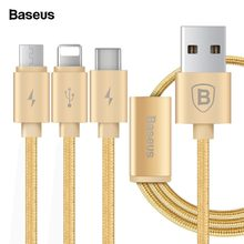 Baseus 3 in 1 Charging Cable For iPhone Micro USB Type C Multi Charger Cable For iPhone X 8 7 6s 6 SE 5s For Android Phone Cable(China)