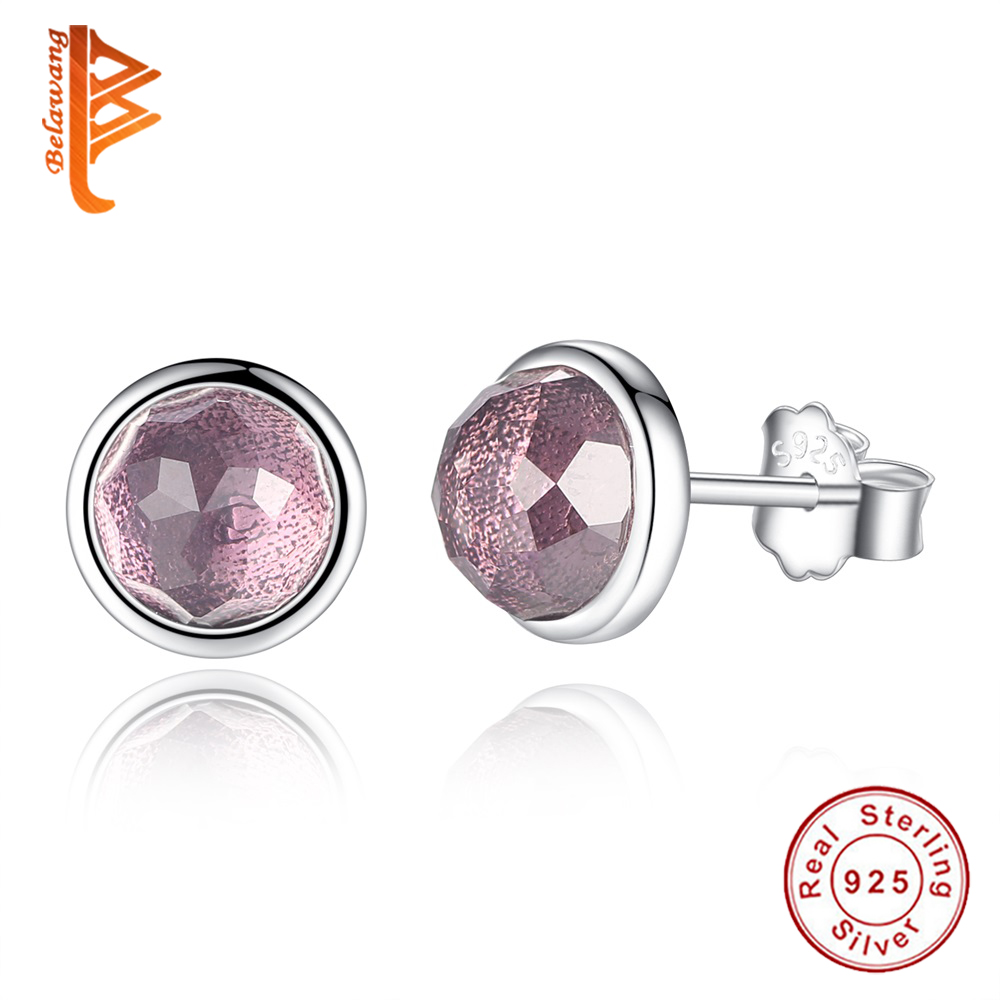 2017 New Design Genuine 925 Sterling Silver February Birthstone Droplets  Red Crystal Stud Earrings For Women Fashion Jewelry
