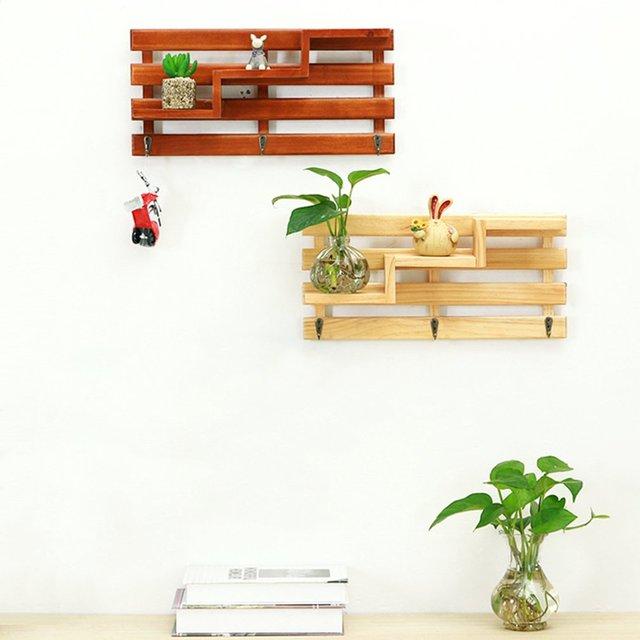 1pcs Creative Wooden Rack Staircase Storage Flower Bonsai Display Shelf Wall Mounted Bookshelf Ladder Racks