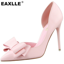 2016 Leather D'Orsay Heels Party Shoes Bowtie Sexy Thin High Heel Pumps Top Quality Weeding Shoes Pointed Shoes Women Pumps