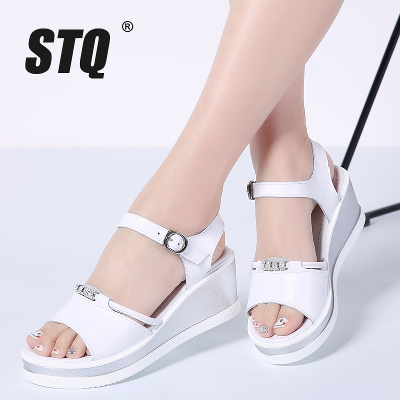 STQ Heeled Sandals Platform Flipflops Flat White Peep-Toe Summer Ladies 87418
