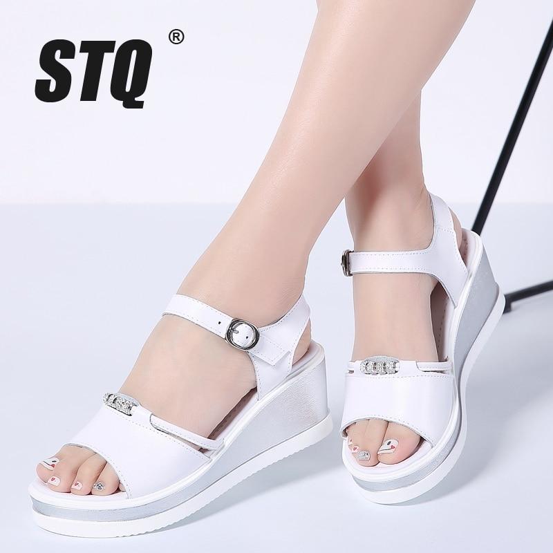 d211c721932608 STQ 2019 Women sandals white flat wedge sandals Summer ladies peep toe high  heels Platform white